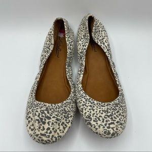 NWT- Lucky Brand Emmie Leopard Canvas Ballet Flats
